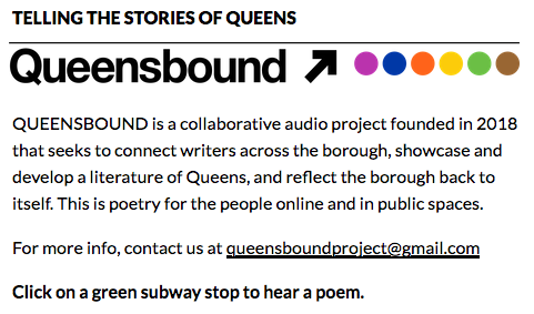 Queensbound collaborative audio project of poets and writers in Queens, New York