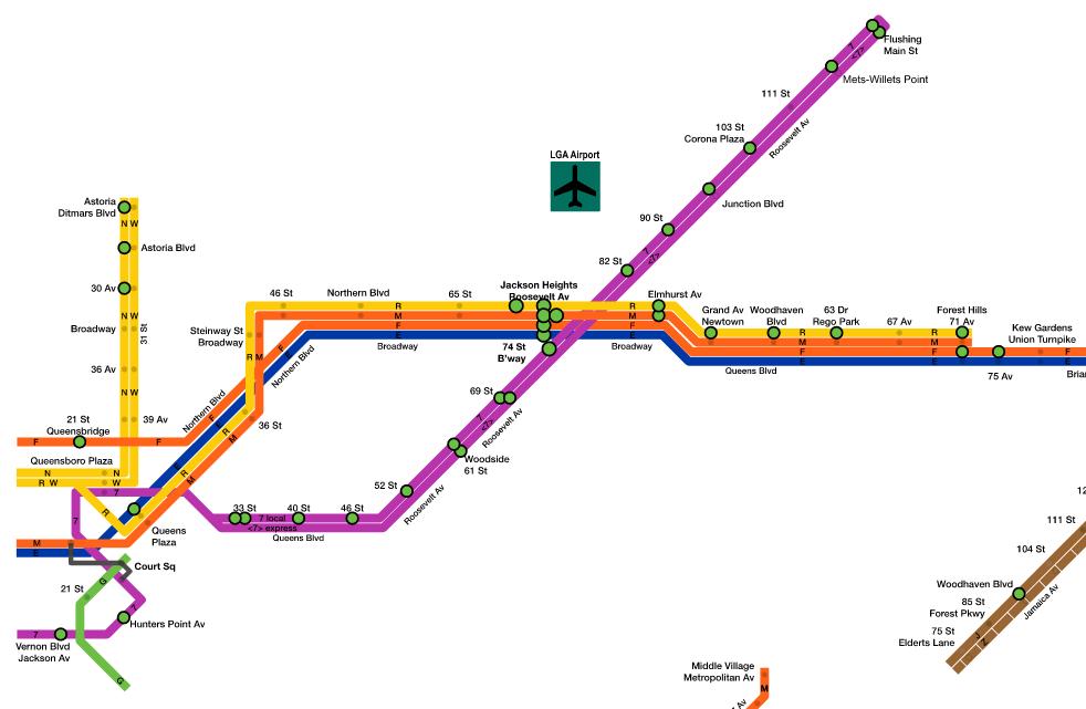 subway map of poetry in Queens